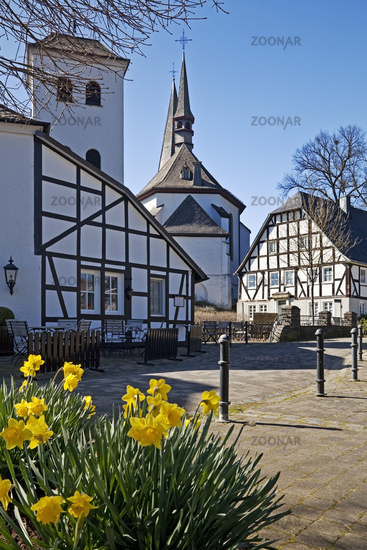 old town with parish church of St. Peter and Paul in spring, Eslohe, Sauerland, Germany, Europe