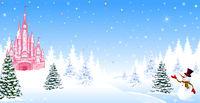 Christmas castle winter night forest snow snowman
