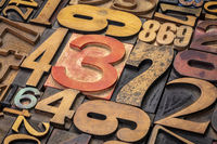 numbers background in letterpress wood type