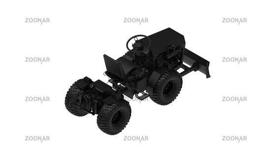 3D rendering of a mini tractor work vehicle machinery computer model working engineering on white background
