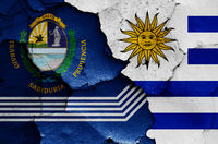 flags of Salto Department and Uruguay painted on cracked wall