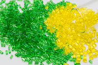 green and yellow transparent polymer resin in lab