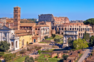 Rome. Ancient Forum Romanum landmarks and Colosseum in eternal city of Rome