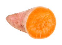sliced tuber of sweet potato (batata) isolated