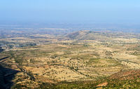 Semi-arid plateau in the Ethiopian Highlands, Hazwien plateau, Tigray, Ethiopia