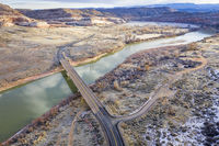 highway across Colorado River aerial view