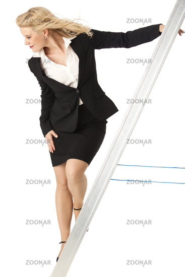 Business woman on a ladder on white