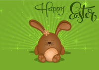 Happy Easter Greeting Card with Brown Bunny on Green