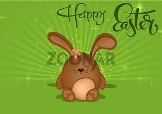 Frohe Ostern-Grußkarte mit braunem Hasen auf grünem Hintergrund