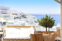 Top view to the sea from Thira, Sntorini, Greece