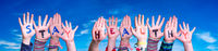 Kids Hands Holding Word Stay Healthy, Blue Sky