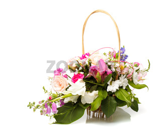 Bouquet pink in basket
