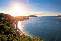Idyllic French riviera bay and Cap Ferrat sunset view