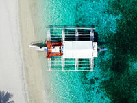 Boat at Kalanggaman Island, Malapascua, The Philippines - Aerial Photograph