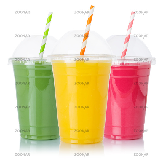 Collection of fruit smoothies fruits orange juice straw drink in cups isolated on white