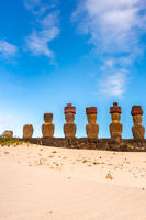 Anakena Beach on Easter Island or Rapa Nui in Chile. Moai at Ahu Nua Nua.