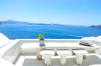 Top view to the sea and village Oia,Greece
