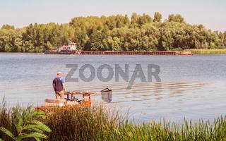 Fisherman on the Dnieper River in Kiev, Ukraine