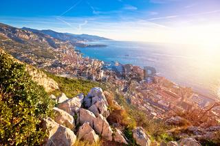 Principality of Monaco aerial panoramic sunrise view