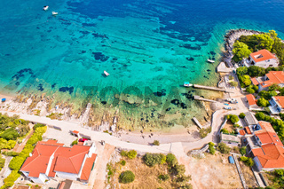 Aerial view of Prizba beach on island Korcula
