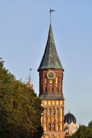 Kaliningrad, Russia - september 30, 2020: Tower of Koenigsberg Cathedral, Gothic temple of the 14th century. Symbol of Kaliningrad, until 1946 Koenigsberg, Russia