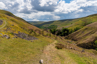 Walking at the Gunnerside Gill, North Yorkshire, England