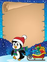Christmas penguin and sledge parchment 3