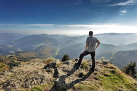 Hiker on the Belchen in Black Forest