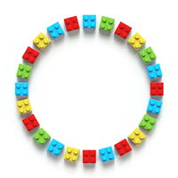 Circle made of colorful toy bricks 3D