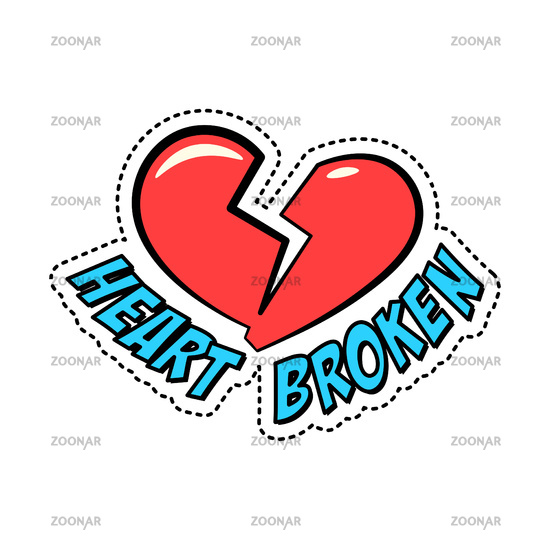 Colorful retro style sticker patch badge with red broken heart isolated on white background, vector illustration.
