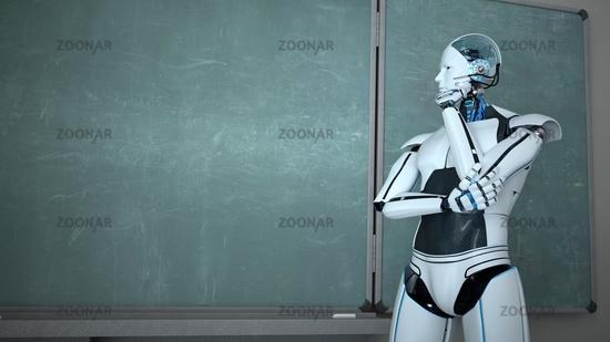 Humanoid Robot Chalk Board Thinking Teacher