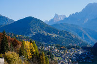 Autumn Dolomites village Falcade, Italy