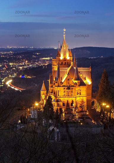 Illuminated Drachenburg Castle above the Rhine Valley in the evening, Koenigswinter, Germany, Europe