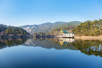 lake and pavilion in lushan mountain
