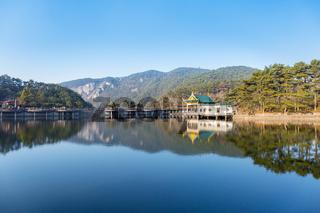 lake and pavilion in lushan mountain