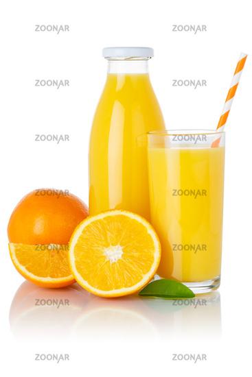 Orange fruit juice drink oranges glass and bottle isolated on white