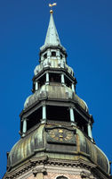 Bell tower steeple of St. Peter's Church with weather vane