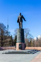 Sergei Korolev Memorial Sculpture near Rocket Monument to the Conquerors of Space in Moscow, Russia.
