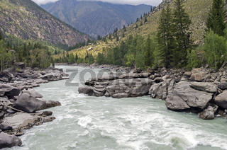 Final part of 'Atlantes' rapids, Argut river. Altai,  Russia.