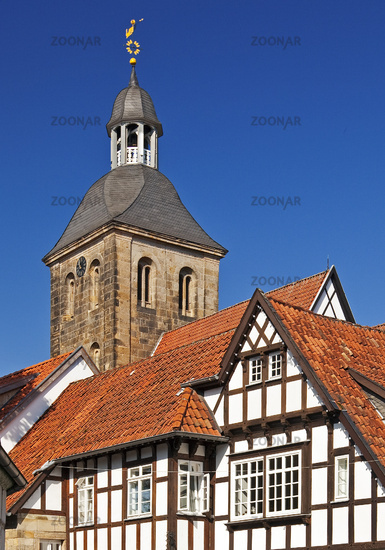 Old town with town church, Tecklenburg, Germany