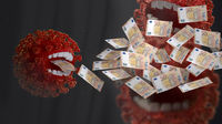 concept of Corona crisis costs. money eating red virus, symbolic virus monster with teeth and EUR banknotes 3d-illustration