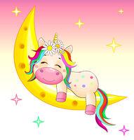Baby unicorn on the moon
