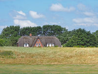 Thatched house at the dyke in Schleswig-Holstein, Germany, Europe