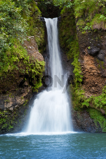 Mauritius. Small falls in 'Valley of 23 colors of the Earth' park inMare-aux-Aiguilles