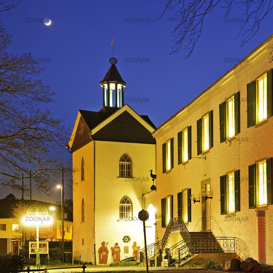 Letmathe House in the evening, Iserlohn, Sauerland, North Rhine-Westphalia, Germany, Europe