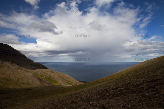 Landscape at Tindastóll with a view of the Skagafjoerdur, Iceland, Europe