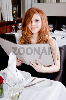 man and woman in restaurant for dinner