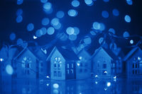 Glowing houses Christmas card