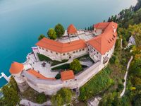 Aerial view of Bled Castle overlooking Lake Bled in Slovenia, Europe