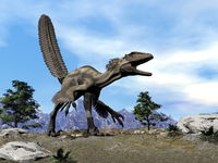 Deinonychus dinosaur roaring head up -3D render